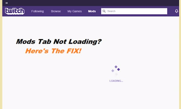 twitch mods tab not loading