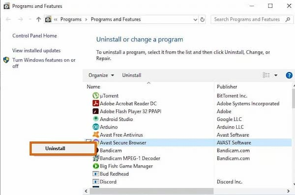 how do i stop avast secure browser from opening on startup