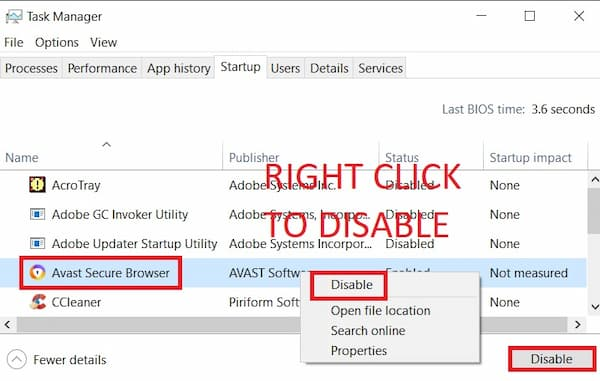 how to stop avast secure browser from opening on startup