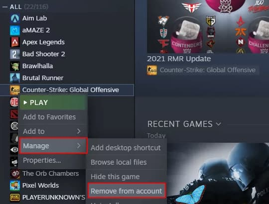 can't remove game from steam library