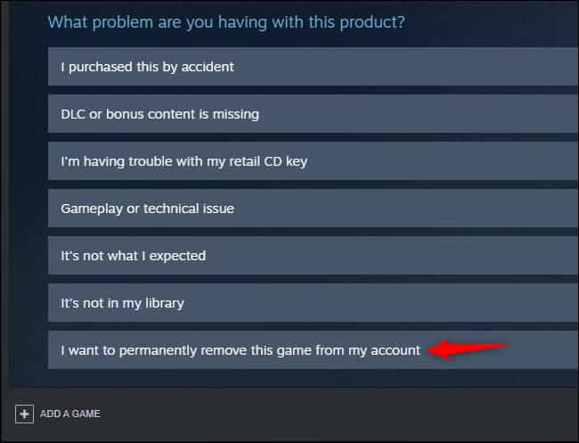 steam how to remove game from library